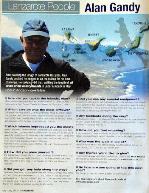 Alan in the Lanzarote Gazette (click to view larger)