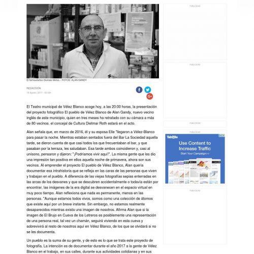 """Alan's photography project for Vélez-Blanco in """"Diario de Almería"""" - 2017"""