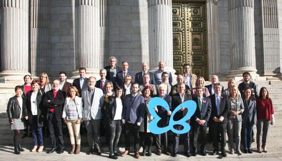 Wearing wings for Butterfly Skin International Day