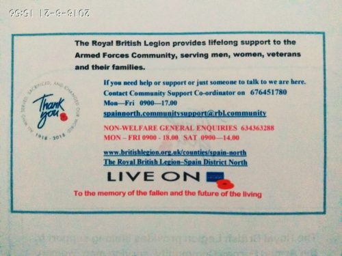 The Royal British Legion Spain.