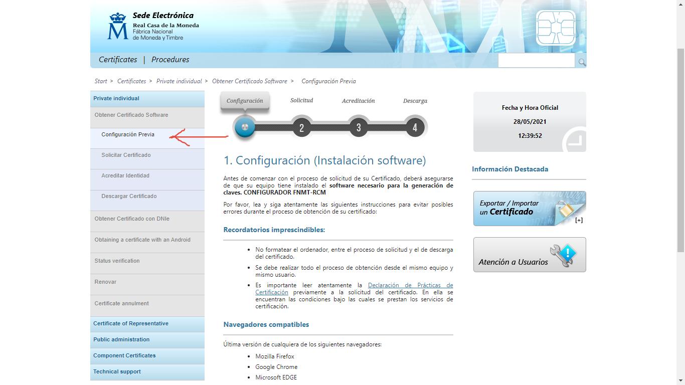 How to get a digital certificate in Spain - Configuración previa
